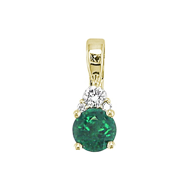 "King's Emerald and Diamond Pendant 14kt Yel18"" Chain"