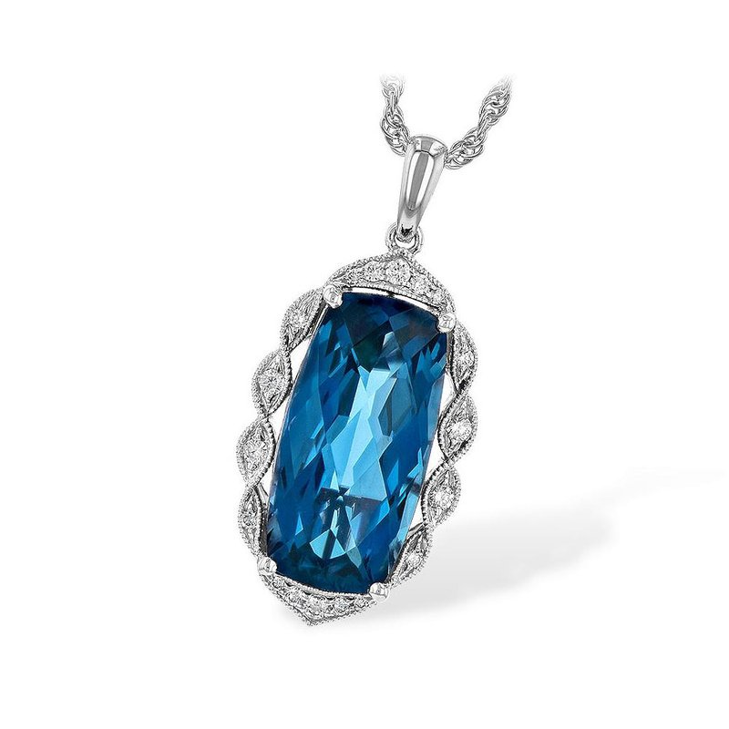 """King's 14kt Wh Oval London Blue Topaz 6.70ct with Diamonds 18"""" Chain"""