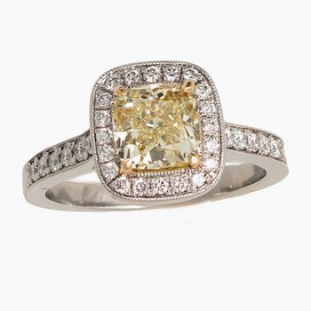 Yellow Diamond Cushion Engagement Ring