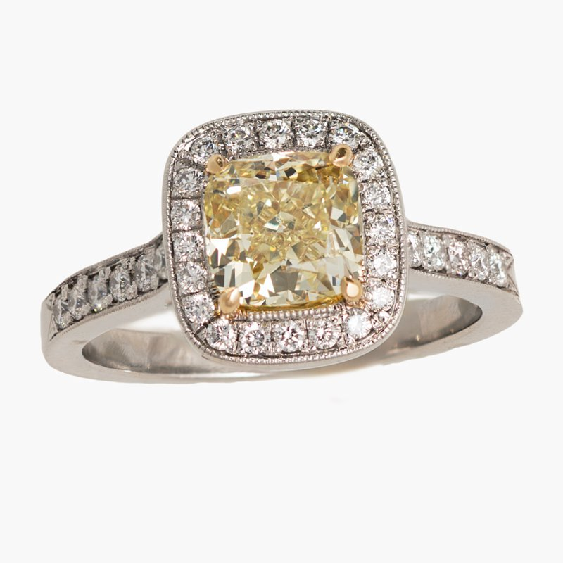 King's Bridal Yellow Diamond Cushion Engagement Ring