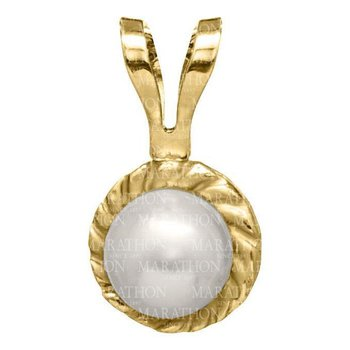 "14kt Yel Cultured Pearl Pendant on 15"" Chain"