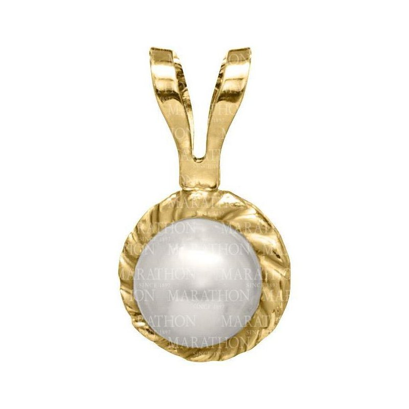 """King's Children 14kt Yel Cultured Pearl Pendant on 15"""" Chain"""