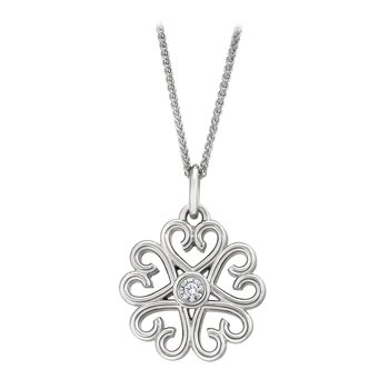 Scroll Pendant w/Bezel Set Diamonds