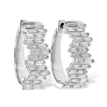 Diamond Baguette Hoop Earrings
