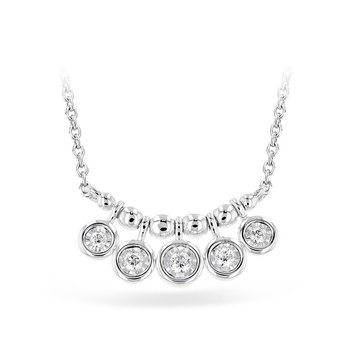 "14kt Wht Diamond Dangle Necklace 5 Diams 18"""