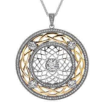 "Large ""Braveheart"" Sterling & 10kt Gold CZ Pendant"