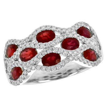 Ruby & Diamond Wide Lattice Band