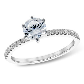 Solitaire Diamond Engagement Ring with .72ct Diamond Shanks