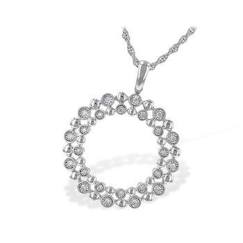Beaded Circle Diamond Pendant