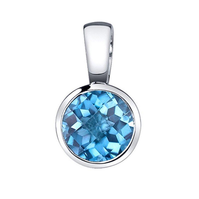 Blue Topaz Pendant bluetopaz pendant round blue topaz pendant