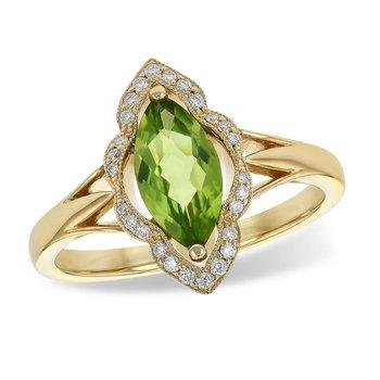 Marquise Peridot and Diamond Ring