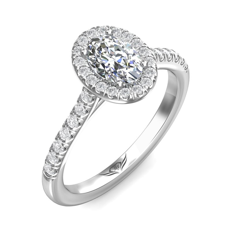 King's Bridal 14kt Wh Oval Cut Diamond with Halo and Diamond Shank #020230
