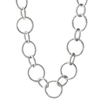 "Sterling Silver Spiral  Circle 24"" Necklace"