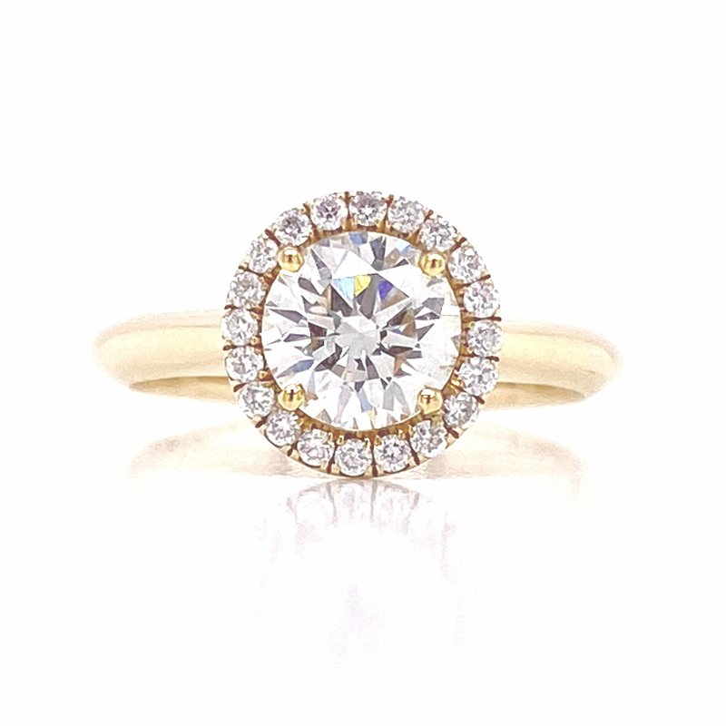 Diamond Halo Engagement Ring with a 1.18 round brilliant GIA certified diamond from Danhov