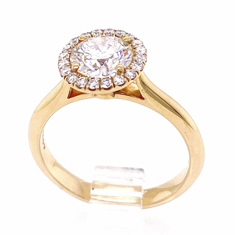 Danhov Diamond Halo Engagement Ring with a 1.18 round brilliant GIA certified diamond from Danhov