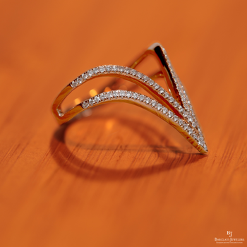 Pointed Double V Fashion Ring in 14K Rose Gold with Diamonds