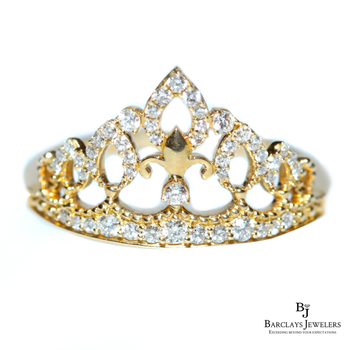 Crown Fashion Ring 14K Gold with Diamonds