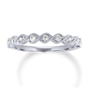 Round Diamond Intertwining Milgrain Stacking Band