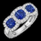 Spark Creations Three Stone Sapphire and Diamond Halo Ring