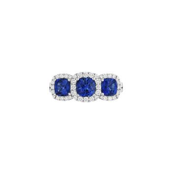 Three Stone Sapphire and Diamond Halo Ring
