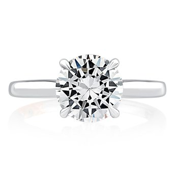 Diamond Solitaire Engagement Ring with Diamond Bridge