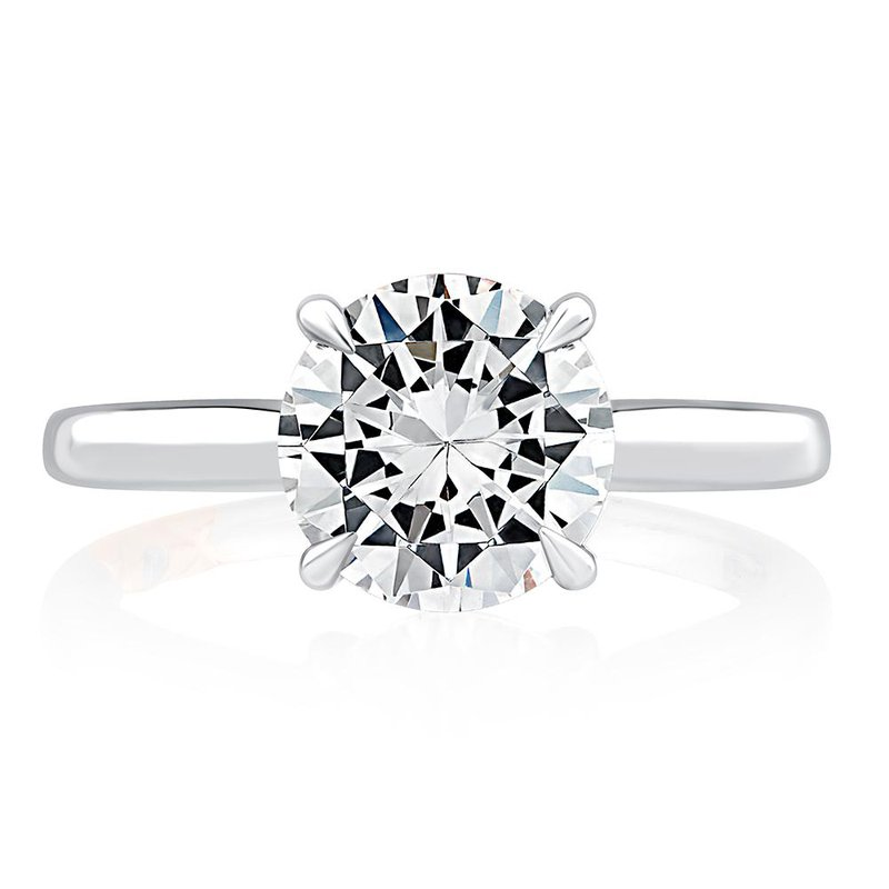 A. Jaffe Diamond Solitaire Engagement Ring with Diamond Bridge