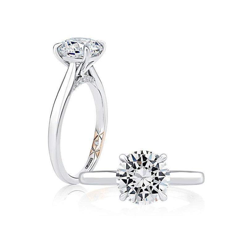 A. Jaffe Diamond Solitaire Engagement Ring with Diamond Bridge