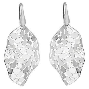 Silver Mosaic Leaf Earrings