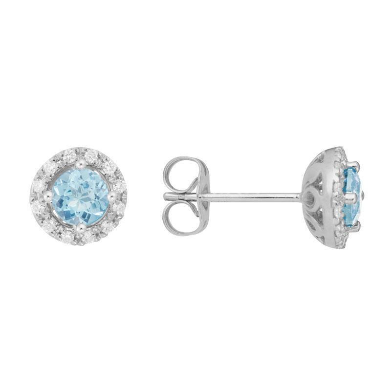 Artistry Limited Aquamarine and Diamond Halo Earrings