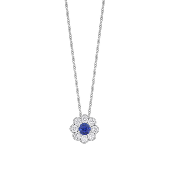 Floral Cluster Sapphire and Diamond Pendant
