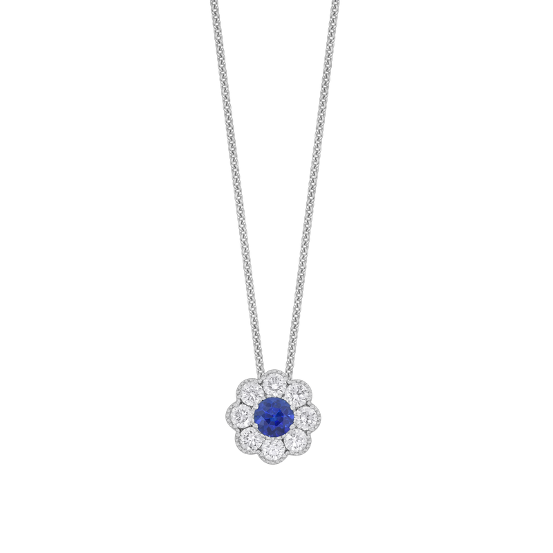 Spark Creations Floral Cluster Sapphire and Diamond Pendant