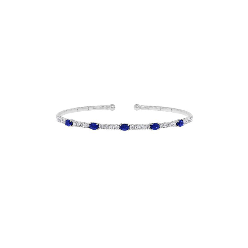 Spark Creations Blue Sapphire and Diamond Bangle Bracelet