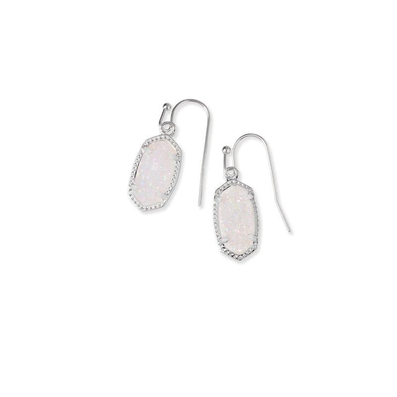 Kendra Scott Lee Earrings Rhodium Iridescent Drusy