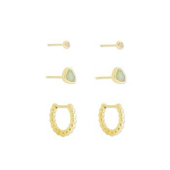 Ivy Huggie Stud Earring Set in Gold Matte Iridescent Mint