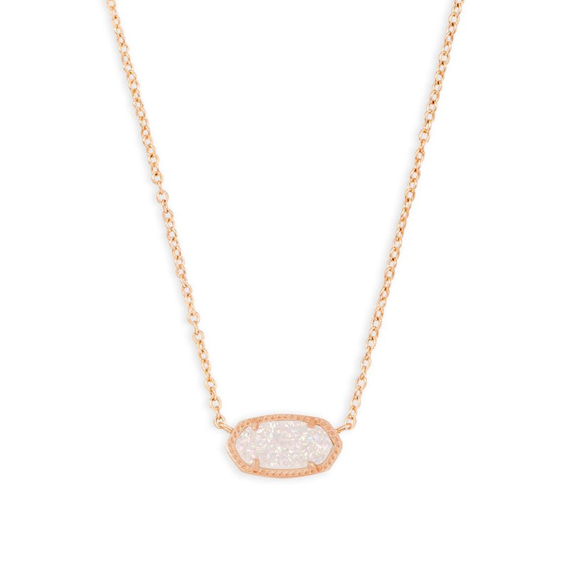 Kendra Scott Elisa Rose Gold Pendant Necklace In Iridescent Drusy