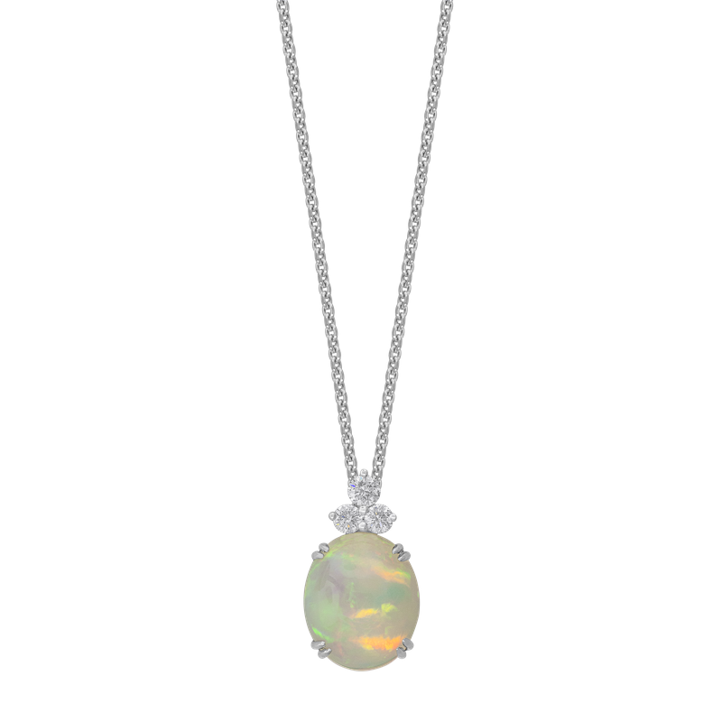 Spark Creations Opal and Diamond Pendant