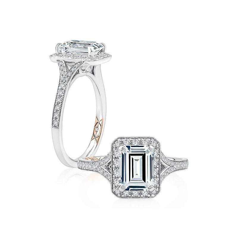 A. Jaffe Emerald Cut Halo Engagement Ring with Milgrain Edge