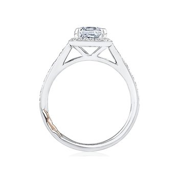 Emerald Cut Halo Engagement Ring with Milgrain Edge