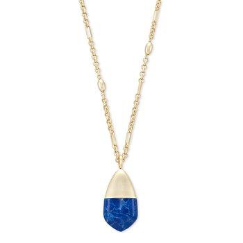 Freida Gold Long Pendant Necklace In Cobalt Howlite