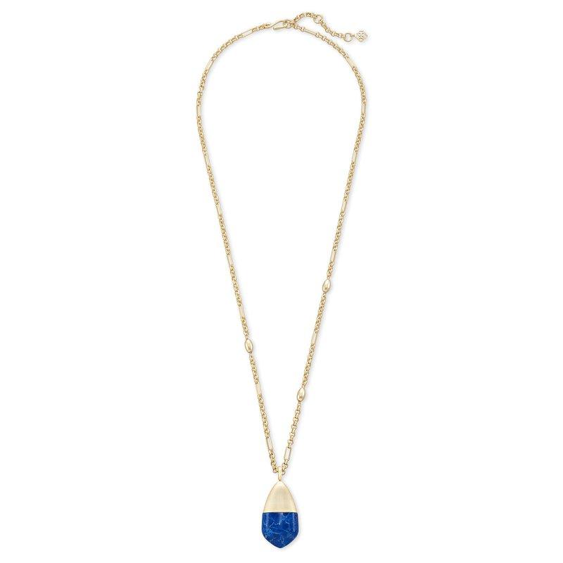 Kendra Scott Freida Gold Long Pendant Necklace In Cobalt Howlite