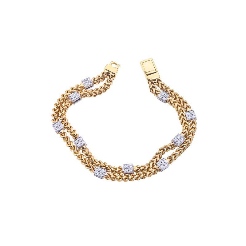 DA Gold Two Row Diamond Bracelet