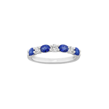 Sapphire and Diamond 7-Stone Ring