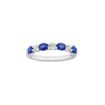 Sapphire and Diamond 7-Stone Ring