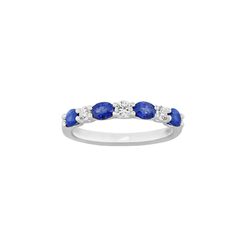 Spark Creations Sapphire and Diamond 7-Stone Ring