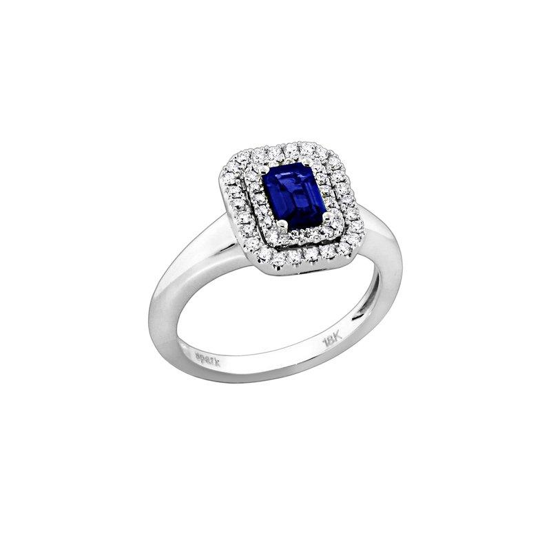 Spark Creations Blue Sapphire Emerald Cut Double Halo Diamond Ring