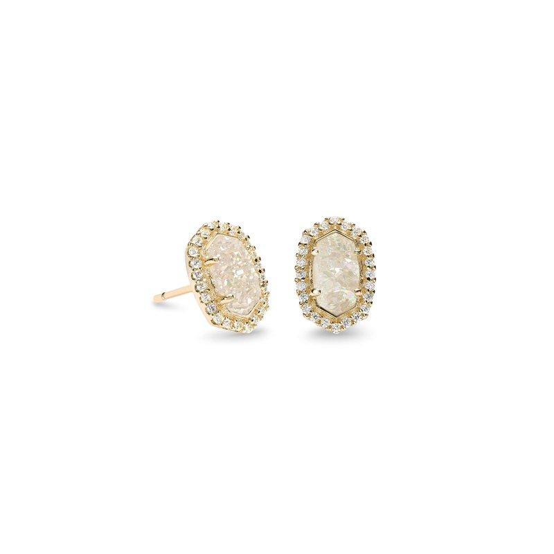 Kendra Scott Cade Stud Earrings in Gold Iridescent Drusy