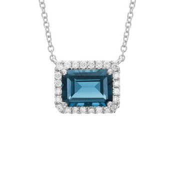 London Blue Topaz and Diamond Halo Necklace