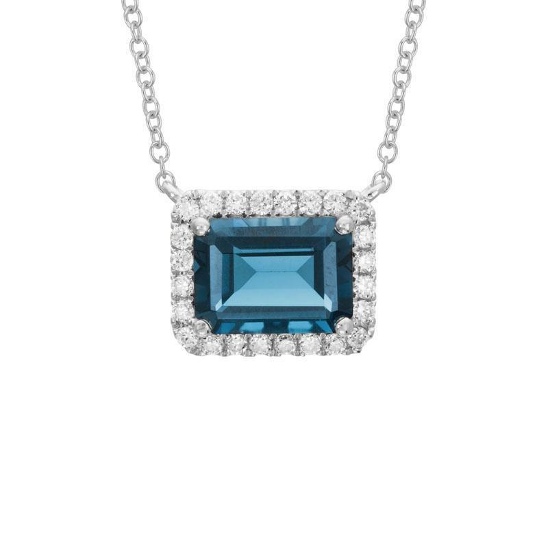 Artistry Limited London Blue Topaz and Diamond Halo Necklace