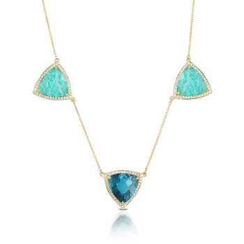 Amazonite and London Blue Topaz Necklace
