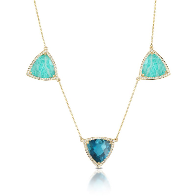 Doves Amazonite and London Blue Topaz Necklace